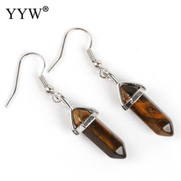 Tigers eye earrings online shopping - Fashion Natural Stone Drop Earrings Hexagonal Column Tiger Eye Crystal Quarts Druzy Agata Stone Dangle Earrings Women Jewelry