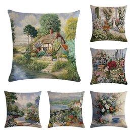 "$enCountryForm.capitalKeyWord Australia - Oil Painting Landscape Painting Series Pillow Case Linen Pillowcase Square 18"" Throw Cushion Cover Bedroom Cafe Home Sofa Waist Seat Decor"