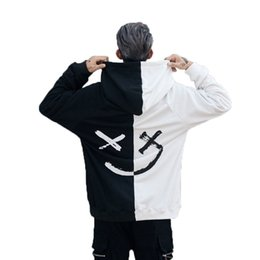 Black Block Clothing Australia - Hoodies Sweatshirts Color Block Black White Patchwork Smile Print Male Hip Hop Streetwear Men Clothes 2018 Hoodie C19040401