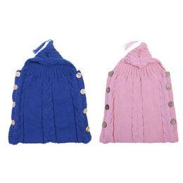 $enCountryForm.capitalKeyWord Australia - Wood Button Tassel Cap Sweater Infants Newborn Baby Wrap Blanket Swaddle Toddler Knit Sleeping Bag Sleep Sack Stroller Wrap