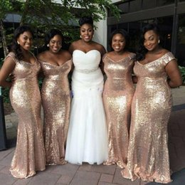 $enCountryForm.capitalKeyWord Australia - Bling Plus Size Rose Gold Sequined Bridesmaid Dresses Maid Of Honor Gowns Off Shoulder Simple Floor Length Wedding Party Guest Dresses Gowns