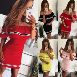 Discount solid color one shoulder dress - 2019 fashion design sexy type women's dress stitching solid color wrapped chest Slim one shoulder summer club dress