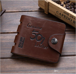 bifold style wallet Australia - Brown fashion style men purse wallet 501 quality leather soft bifold credit card holders wallets for men free shipping