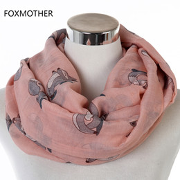 Lovely Scarves Wholesale Australia - FOXMOTHER New Lovely Lightweight Pink Navy Tan Grey Color Animal Fox Circle Scarf Ring Shawl Foulard Free Shipping