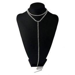 row choker necklace UK - Choker Sexy Rhinestone Necklace 2020 Women Multi Row shiny Statement Necklaces Chokers Long Pendants Chocker