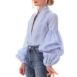 ba91e36b78e433 New Design Puff Sleeve Plaid Blouse Tops Women Long Sleeve V Neck Loose Shirts  Elegant Ladies Blouses Casual Femme Vintage Blusa