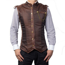 Gothic Style Clothes Australia - Wholesale- Punk Rock Black Striped Sleeveless Jacket Steampunk Vest Men Chaleco Hombre Plus Size 6XL Corset Mens Waistcoat Gothic Clothing