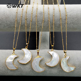 Necklaces Pendants Australia - Wt-n1024 Wkt Wholesale Custom Natural Shell Cresent Moon White Pendant Necklace With Gold Stalite Beads Necklaces 18 Inches Y19050802
