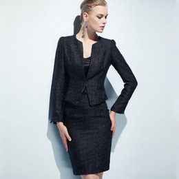 $enCountryForm.capitalKeyWord NZ - Skirt Suits Women Two Piece Set Office Lady Business Formal Work Tweed Blazer Coat Skirt Elegant High Quality Uniform Outfits