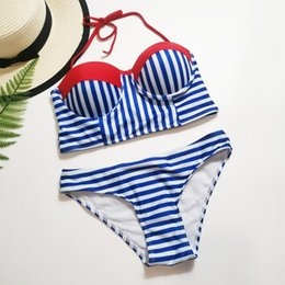 Wholesale push up bandeau halter swimsuit resale online - Blue and White Stripes Bikini Sexy Bandeau Push Up Swimsuit Summer Ladies Padded Halter Swimwear Female Beach Bathing Suit