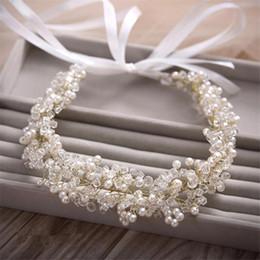 $enCountryForm.capitalKeyWord Australia - Size 31*4cm Gold Handmade Jewelry Wedding Bride Bridal Crystal Pearls Ribbon Headbands Tiaras Headpiece Hair Accessories