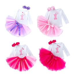 Handmade pullovers online shopping - Baby Romper Clothing Sets Long Sleeve Romper Colorful Handmade Skirt Cotton Pullover Printed Letter Bow tie