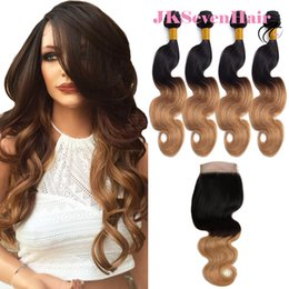 $enCountryForm.capitalKeyWord Australia - 1B Honey Blonde Body Wave Brazilian Virgin Hair Extensions 4pcs With 4x4 Inch Lace Closure 1B 27 Malaysian Indian Hair Wefts With Closure