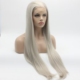 Discount grey woman wig - Natural Hairline Silky Straight Long Silver Grey Wigs Half Hand Tied Heat Resistant Glueless Synthetic Lace Front Wigs f