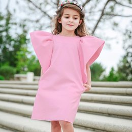 AmericA tutu online shopping - Baby Girls Wide Ruffle Sleeves Dresses Summer Kids Boutique Clothing Euro America Kids Sleeveless Solid Color Loose Dresses Colors