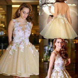 $enCountryForm.capitalKeyWord Australia - New Sweet Open Back Short Homecoming Dresses 2019 New Sheer Jewel Neck with Lace Appliques Knee Length Cocktail Gowns Party Wear Custom 1336