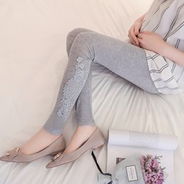 leggings pregnant Canada - Pengpious 2019 fashion maternity leggings soft comfurtable adjustable waist belly trousers slim hips pregnant women lace pants
