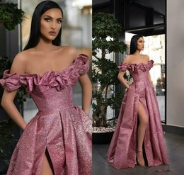 4df403f54853 Two piece prom dress gliTTer online shopping - 2019 Elegant Beading Split  Evening Dresses Rami Salamoun