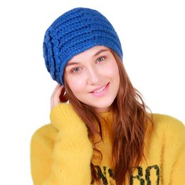 Discount crochet yellow hat Hairy Bulb Hat 2018 Hot Sale Women Warm Crochet Winter Wool Knit Manual Caps Dropship <=487g##