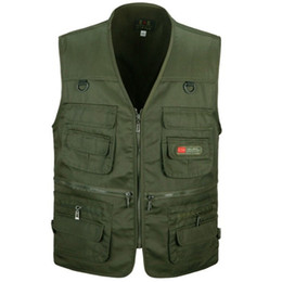Wholesale men work vest resale online - Men Vest Army Green and Black Color Waistcoat Multi pocket Travel or Work Wear Durable Plus Size Men s Outerwear High Quality