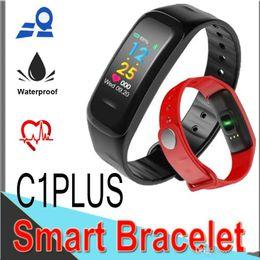 Portuguese Bracelets Australia - C1 Plus Smart Band Bracelet Bluetooth SmartWatch Blood Pressure Oxygen Heart Rate Monitor Sport Band fitness tracker Color Screen XCTC1P