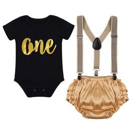 ed6b5b9e4 3pcs Set Newborn Baby Boy Girl 1st Birthday Cake Smash Outfits Romper +  Suspenders + Shorts Pants Baby Clothing For Photo Shoot J190520