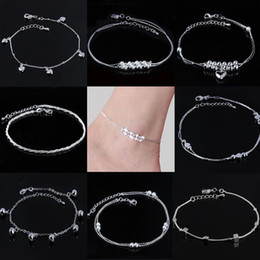 $enCountryForm.capitalKeyWord Australia - Women Beaded Silver Plated Anklet Heart Daisy Flower Hemp Rope Bell Foot Chain Ankle Bracelet Barefoot Sandals Summer Jewelry