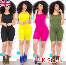 Wholesale jumpsuit womens resale online - Sexy Women Casual Sleeveless Bodycon Romper Jumpsuit Club Bodysuit Short Pants Ladies Womens Playsuits Summer Clothing