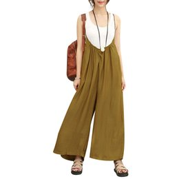 Discount women wide leg pant suits - 5XL 2018 Vintage Jumpsuits Women Overalls Fashion Cotton Linen Wide Leg Pants Plus Size Summer Long Trousers Rompers Bod
