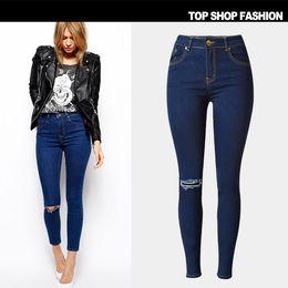 Discount high waist jeans for girls fashion - High Waist Skinny Fashion Jeans for Women Knee Hole Elastic Girls Slim Ripped Denim Pencil Pants Plus Size