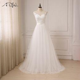 $enCountryForm.capitalKeyWord Australia - Adln Cheap Lace Wedding Dress O-neck Tulle Boho Beach Bridal Gown Bohemian Wedding Gowns Robe De Mariage In Stock Y19072901