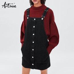 25c8c6d9a6 wholesale Spring 2019 Denim Mini Overalls Dress Women Black Casual Button  Pockets Streetwear Summer Strap Short Dresses