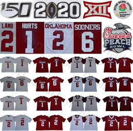 Wholesale NCAA Oklahoma Sooners 1 Jalen Hurts Jersey 2 CeeDee Lamb Baker Mayfield Kyler Murray Red White College Football Rose Peach Bowl 2020 150TH