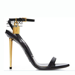 $enCountryForm.capitalKeyWord Australia - Unique2019 High 18 Sandals Woman Metal Fine With Bring Lock High-heeled T Home Women's Sexy Go Show Shoes