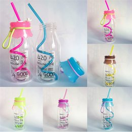 c09f41248e9 Student School Water Bottle Kids Girl Summer Plastic Straw Drink Cup 420ml  Transparent Water Bottle With Lid