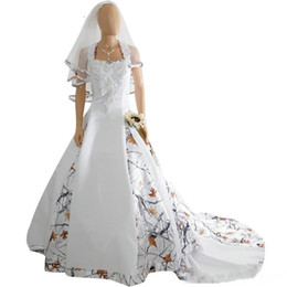 Backless Wedding Dress Veils UK - 2019 New Fashion White Camo Satin Wedding Dress Custom Lace Appliques Bridal Gowns Lace Up Back With Veil Custom Long Camouflage New