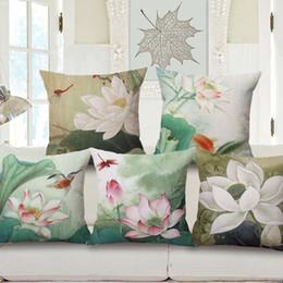 Lotus piLLows online shopping - Chinese Painting Lotus Hold Cotton Pillow Case Home Furnishing Sofa Back Cushion Cushion Set