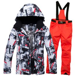 cream suit jacket men NZ - 2019 New Winter Ski Suit Men Snow Skiing Male Clothes Set Outdoor Thermal Waterproof Windproof Snowboard Jackets Pants Clothing T190920