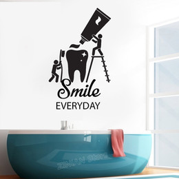 Kids Bathroom Wall Decor Australia - Creative Vinyl Wall Decal Health Teeth Cleaning Dentist Bathroom Stickers Home Decor Kids Room Smile Everyday Quote Sticker