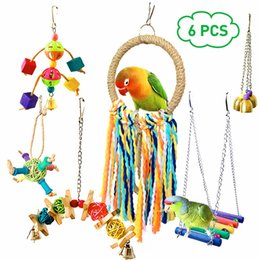 pet toy wholesale Canada - 6Pcs Pet Parrot Bird Toys Set Funny Assorted Bite Resistant Bird Cage Toy Colorful Swing Hanging Ring Chew Toy Vogel Speelgoed