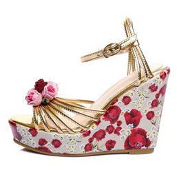 leather soft shoes sandals Australia - Gold Leather Women Platform Sandals 11 CM Wedge Heels Sexy Open-toe Summer Party Pumps Buckle Shoe Woman Box Packing Y103