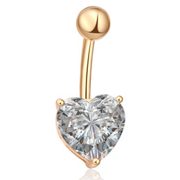 gold silver belly chains UK - MISANANRYNE Fashion Love Heart belly button rings Bar Gold Silver Color Surgical Sexy Body Jewelry for women CZ navel pierced