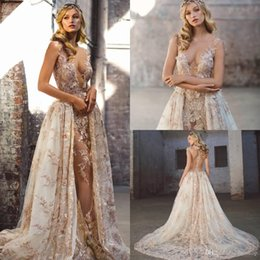 Plunge Wedding Dresses UK - Bohemian 3D Appliqued A-Line Overskirt Wedding Dresses Sheer Plunging Neck Sheer Backless Sweep Train Tulle Plus Size Beaded Bridal Gowns