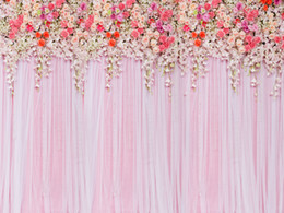 Photos babies online shopping - Beautiful Flowers Wedding Scene Vinyl Photography Backdrops Pink Seamless Newborn Baby Photo Booth Backgrounds for Romantic Studio Props