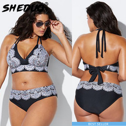3a07c4afed Plus Size swimwear For women Sexy Bikini Set Straps Deep V Swimsuit Two  Pieces Suits Push Up Big Size Print Beach wear Underwear