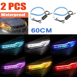 car drl led strip NZ - Waterproof 2Pcs 60cm Ultrafine Cars DRL LED Daytime Running Lights White Turn Signal Yellow Guide Strip for Headlight Assembly