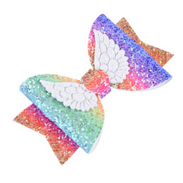 China New children's hair accessories 20 colors cute three-dimensional angel wings sequin leather hairpin half pack card V043 cheap three dimensional christmas cards suppliers