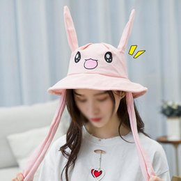 White Black Hats For Kids Australia - 2019 Newly Cute Bunny Hat Funny Movable Basin Cap Ear Up Down Rabbit Gift Toy For Kids Girls Girlfriend Drop Shipping Hat Cap