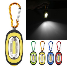 Wholesale Portable Mini Keychain Pocket Torch Modes COB mini key ring chain outdoor LED Light Flashlight Lamp Multicolor Mini Torch With Battery