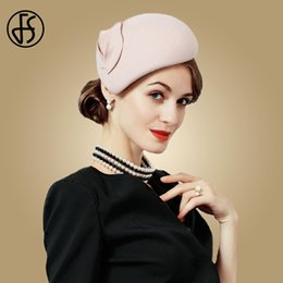 d87574d2e34f8 FS Fascinator Wool Felt Hat Women Pink Pillbox Hats Black Ladies Vintage  Cocktail Fashion Wedding Derby Fedora Chapeau Femme D19011102
